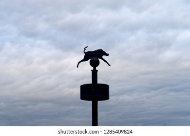 11th January 2019- The figure of a Wild Boar on the bridge crossing the river Taf in the town of St Clears, Carmarthenshire, Wales, UK.