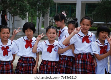 11th of June 2011 - Close up group of Chinese school girls in uniform in Liuyang, China