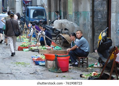 11th of June 2011 - Messy market street in Liuyang, China