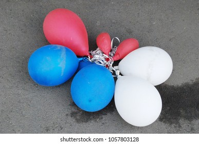 11th of May 2015 - Scene from the Red Square with close up of bunch of flaccid balloons in the Russian colors, Moscow, Russia