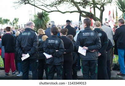11th - November - 2016 - Clacton on Sea - Essex, Members of the Army, Navy, Royal Marines, RAF, Scouts, and guides, Ambulance service, RNLI standing to attention for the ceremony of Remembrance Day