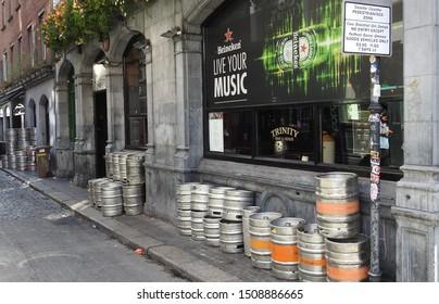 11th September 2019, Dublin, Ireland. Metal beer kegs in Temple Bar area of Dublin city centre.