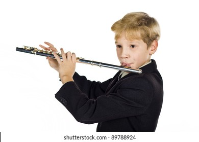 The 11-year-old boy plays a flute
