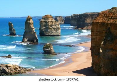 12 Apostles, Great Ocean Road, Victoria, Australia, on a bright sunny day