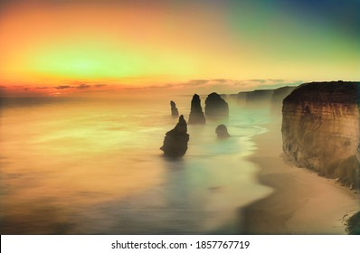 The 12 Apostles at sunset, near Port Campbell, Shipwreck Coast, Great Ocean Road, Victoria, Australia - Shutterstock ID 1857767719