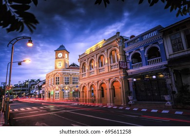 12 AUG 2017 Phuket town, Phuket province, Thailand : Phuket town at night