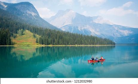12 August 2018, Emerald Lake, Canada. Tourist canoe in Emerald Lake, Canada.