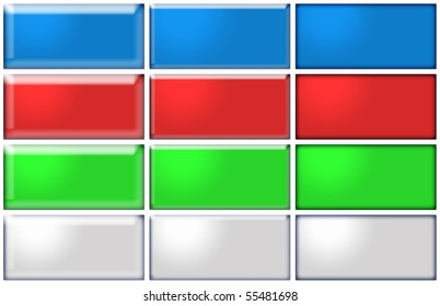 12 Buttons in blue, red, green and grey