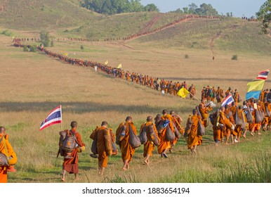 12 December 2020,Ranong,Thailand:Monk buddhist pilgrimage walking on mountain in thailand