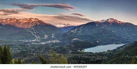 12 exposures to create this panoramic photo of Whistler Blackcomb at sunset. I was waiting for the traffic to subside before driving home , so i decided to go for a hike on rainbow mountain.