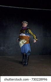 12 February 2017 Izmir, Turkey: Male Traditional Turkish Dancers Zeybek.