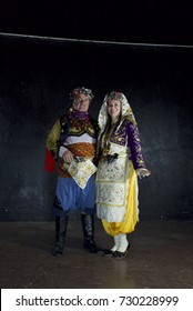12 February 2017 Izmir, Turkey: Couple Traditional Turkish Dancers Zeybek.