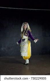 12 February 2017 Izmir, Turkey: Female Traditional Turkish Dancers Zeybek.