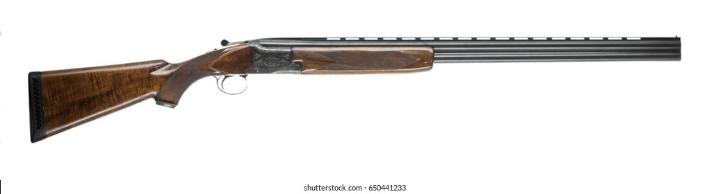 12 gauge over under shotgun isolated on white background