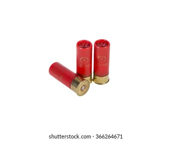 12 gauge shotgun shells used for hunting isolated on a white background