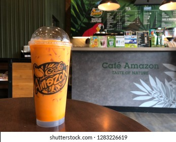 12 Jan 2019; Bangkok Thailand: Thai traditional Milk Tea at Cafe Amazon, Coffee shop