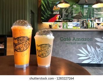 12 Jan 2019; Bangkok Thailand: Cup of Thai Tea beverages at Cafe Amazon, Coffee shop