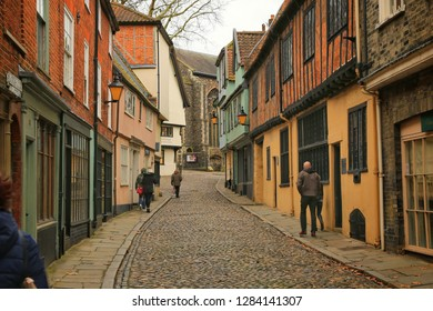 12 January 2019 - Norwich, Norfolk in England. Elm Hill, is an historic cobbled lane in Norwich, Norfolk with many buildings dating back to the Tudor period.