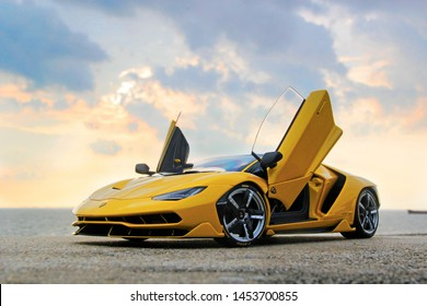 12 July 2019 - Vung Tau City, Vietnam: Yellow Lamborghini Centenario in a sea port, Vung Tau City.