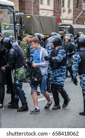 12 June 2017. Russia. Moscow. Tverskaya st. Meeting organized by Alexei Navalny against corruption in  government. Heavy armored police forces arrest young people.