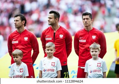 12 June 2018, PGE Narodowy, Warsaw, Poland: Friendly match - Poland vs. Lithuania, Grzegorz Krychowiak,  Lukasz Fabianski, Robert Lewandowski