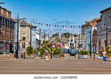 12 June 2018: Truro, Cornwall UK - Lemon Quay, or Back Quay.