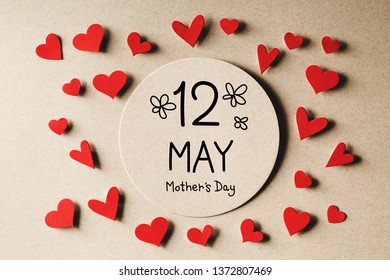 12 May Mothers Day message with handmade small paper hearts