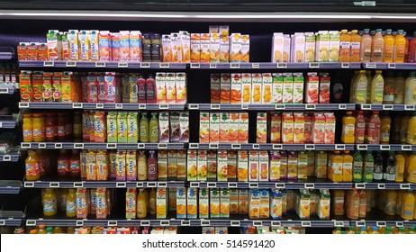 12 November 2016, Strasbourg - France: Box fruit juices on supermarket shelves