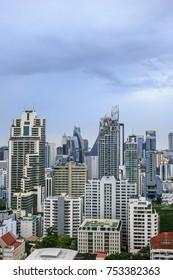 12 November, 2017: Sky view of city buildings with blue sky at Bangkok Thailand