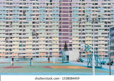 12 Oct 2019 - Kowloon, Hong Kong: Evening of the Famous landmark of hong kong.the colorful public housing, choi hung estate. Traveller come visit and take photos