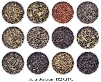 12 samples of loose leaf green, white, black, red, and herbal tea in metal cans isolated on white