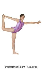 12 year old caucasian girl in gymnastics poses