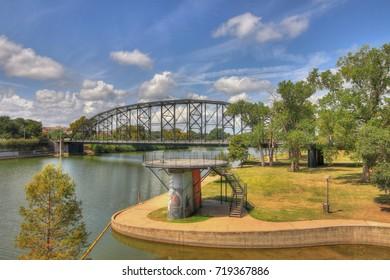 120 year old steel bridge over the Brazos river near downtown Waco Texas