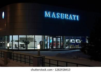 12.01.2019. Ekaterinburg city, Russia, Night landscape, Maseratti Autocentre Building in night illumination