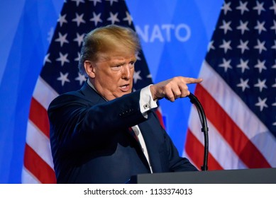 12.07.2018. BRUSSELS, BELGIUM.  Press conference of Donald Trump, President of United States of America, during NATO (North Atlantic Treaty Organization) SUMMIT 2018.