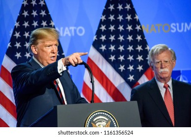 12.07.2018. BRUSSELS, BELGIUM. Press conference of Donald Trump, President of United States of America, during NATO (North Atlantic Treaty Organization) SUMMIT 2018