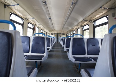 "12.08.2017 Russia. Moscow. The train on the route ""Ivantsevo - Moscow"" An empty suburban train"
