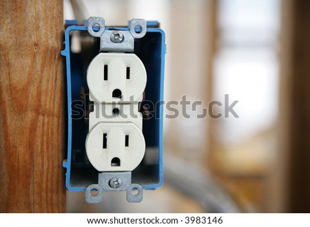 120 V Duplex Electrical Box Nailed Wooden Stock Photo Edit Now