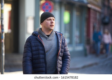 12-10-2018 RIga, Latvia Handsome man outdoors portrait. Autumn colors.