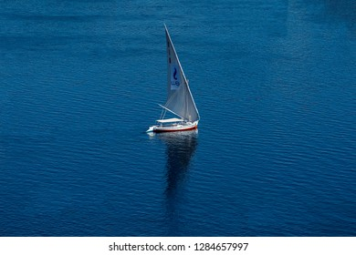 12.11.2018 Aswan, Egypt, A boat felucca sailing along the river nil on a sunny day