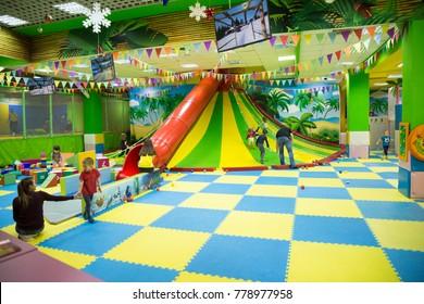 12/20/2017 Russia. the city of Togliatti. Shopping Center Madagascar. Children's amusement park. children play in a shopping mall.