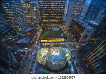 12/22/2018 : Aerial view of the Amazon Spheres at its Seattle headquarters and office towers in downtown Seattle WA D.C USA