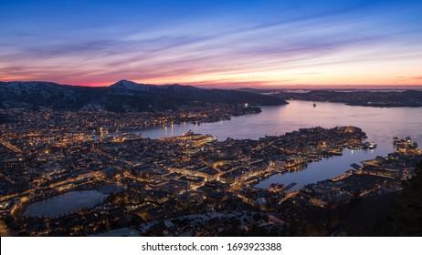 123RF.com Panoramic view of Bergen from Floyen, Bergen, Norway at sunset.