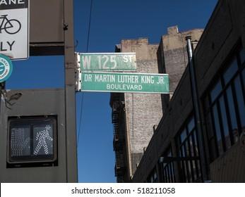 125 street and Martin Luther King Blvd i Harlem New York