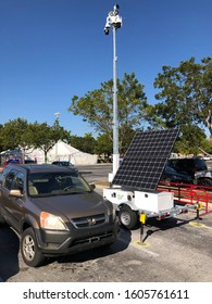 12/7/2019 Miami FL-Lowe's store parking lot with D3 EDGE security trailer with solar panel and extended mast for added holiday security