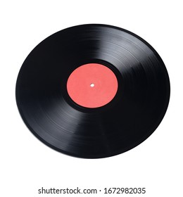 12-inch LP vinyl record with red label isolated on white background