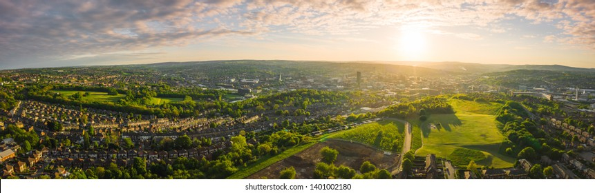 12k Aerial Panorama of Sheffield City at Sunset