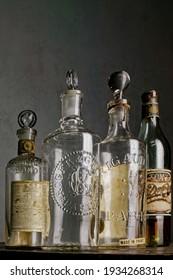 12-sep-2004 vintage european Eau de Cologne.bottles in Gray background-Kalyan Maharashtra INDIA