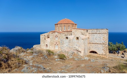 The 12th century Byzantine church of Agia Sofia stands on the highest point of Monemvasia, Peloponnese, Greece.