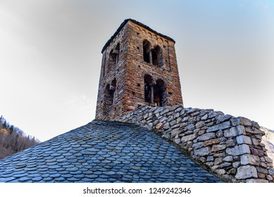 The 12th century Romanesque church in the village of Merens les vals, Ariege, Occitanie, France.
